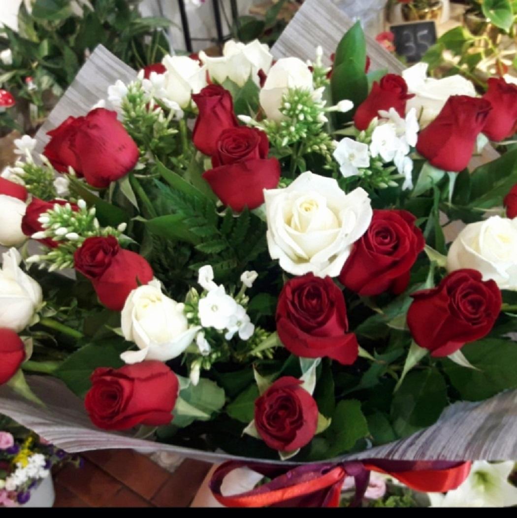 דואט ורדים אדום ולבן